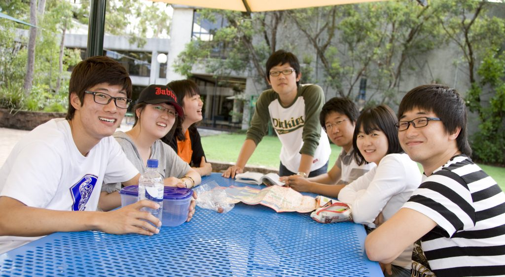 Korean Students at Mt Gravatt Campus. L to R: Park Ding Myung, Seo Yuri, Kang Mun-Young, Kim Ju Young and Namsik Kim, Boram Sim and Inkyu Oh